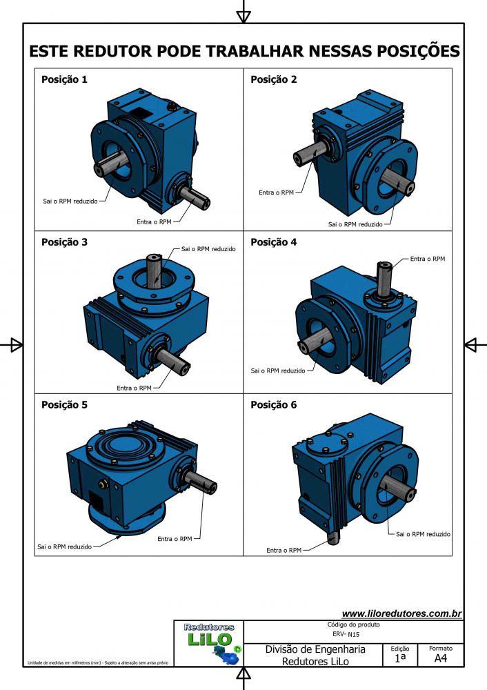Redutor de Velocidade Tamanho ERV-200 Modelo Coroa e Rosca Sem Fim N15